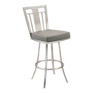 "Cleo 26"" Modern Swivel Bar Stool, Stainless Steel, Gray"