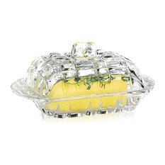 Glass Butter Dish, Lid and Handle Stainless Steel Butter Knife Spreader