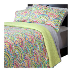 Lavish Home - Melanie Printed Quilt Set, King, 3-Piece - Quilts and Quilt Sets
