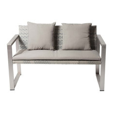 Anodized Aluminum Upholstered Cushioned Sofa with Rattan, Gray/Taupe