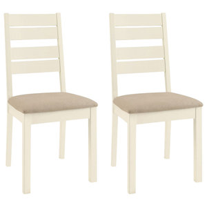 Provence Painted Oak Furniture Slatted Chairs, Set of 2