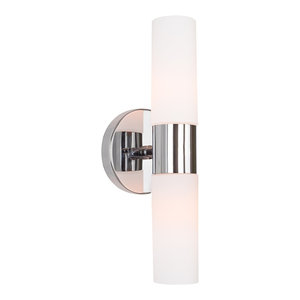 Kira Home Duo Wall Sconce, Frosted Glass Shades, Chrome,14""
