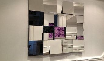 Vintage mirror. Modern minimalism. Cubist mirror, hand made
