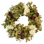 Creative Displays - Fall Wreath with Hydrangea, Heather, Mint and Laurel Leaves. - Fall farmstyle wreath, featuring burgundy and white hydrangea, mint and laurel leaves, heather, and moss covered wire.