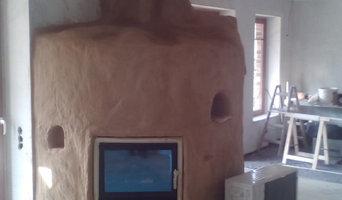 Wasserführender Kamin in homogener Bauweise in einem Neubau