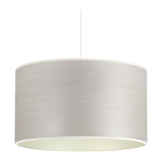 Silver Birch and Champagne Wood Veneer Drum Lampshade, 30 cm