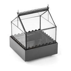 Glass Terrarium, Wardian Case, Handcrafted Square Tabletop Planter Box