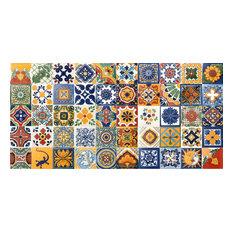 """4""""x4"""" Assorted Mexican Ceramic Handmade Designed Tiles, 50-Piece Set"""