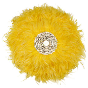 Juju Style Yellow Feather Wall Sculpture, 60 cm