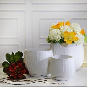 Sagebrook Home Ceramic Planters , Mattewhite, Set of 3