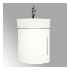 Myrtle 16 1/2-inch Small Corner Cabinet Vanity Bathroom Sink White With Faucet Drain