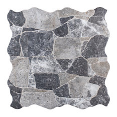 "16.88""x16.88"" Masso Ceramic Floor and Wall Tile, Gray/White"