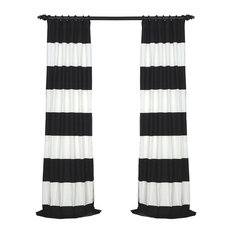 "Onyx Black & Off-White Horizontal Stripe Cotton Curtain, 50""x108"""