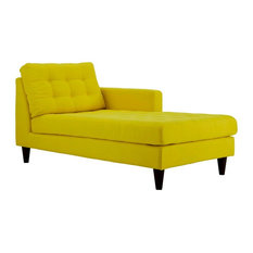Modern Contemporary Urban Living Right Arm Chaise Lounge Chair, Yellow, Fabric