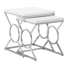 Nesting Table 2Pcs Set Glossy White Chrome Metal