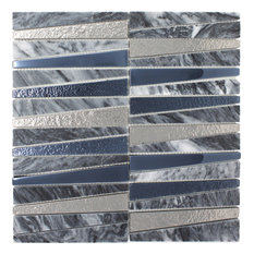 """11.75""""x11.75"""" Eliot Stone and Glass Mosaic Tile Sheet, Cloud Gray and Silver"""