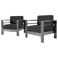GDF Studio Crested Bay Outdoor Gray Aluminum Club Chairs With Cushions, Set