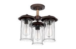 Thornton 3-Light Convertible Semi Flush/Pendant, Aged Bronze