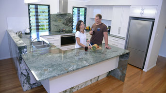 Earth Green Granite & Green Calacutta Marble Kitchen