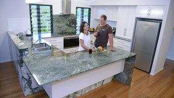 Earth Green Granite & Green Calacutta Marble Kitchen