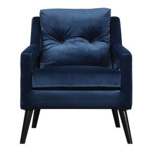 O'brien Blue Velvet Armchair, Blue