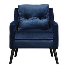 my swanky home retro dark blue velvet arm chair vintage plush deep danish