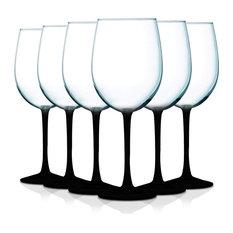 Cachet Accent Stem 19 oz Wine Glasses Set of 6, Bottom Black