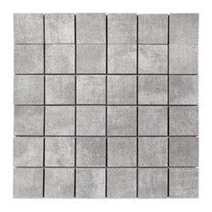 """Essential 2""""x2"""" Porcelain Mosaic Tile, Gray"""