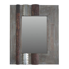 Sagebrook Home - Holden Mixed Metal Mirror, Gray - Wall Mirrors