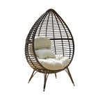 Dermot Multibrown Wicker Lounge Teardrop Chair With Cushion
