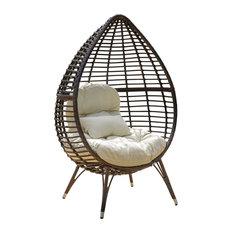 Dermot Multibrown Wicker Lounge Teardrop Chair With Cushion