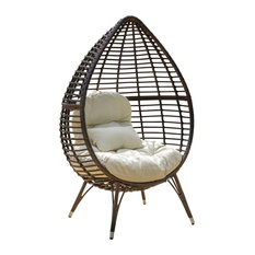 GDFStudio - Dermot Multibrown Wicker Lounge Teardrop Chair With Cushion - Outdoor Lounge Chairs