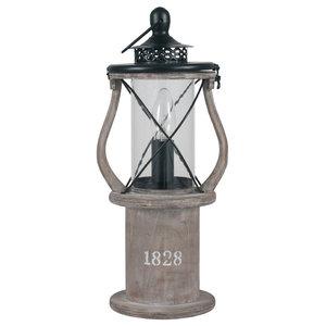 Gibson Lantern Table Lamp, Antique Wood