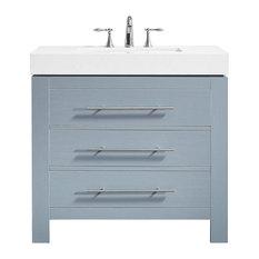 "Essex Vanity With Ascot Quartz Stone, Gray, Single Sink, No Mirror, 36"""