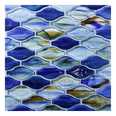 Royal Blue With Multi- Coloured Glass In Curved Pattern Mosaic Tile