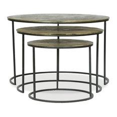 3-Pc Nesting Table Set in Iron Finish