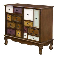 Decorative Painted Chest Dark Brown Finish With Multicolored Doors