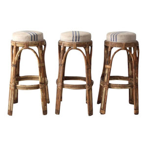 Terrific Consigned Vintage Rattan Bar Stools Set Of 3 Unknown Dailytribune Chair Design For Home Dailytribuneorg