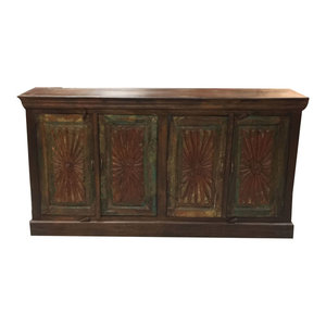 Mogul Interior - Consigned Antique Carved Chest Red Green Chakra Sideboards Chest Console Buffet - Buffets And Sideboards