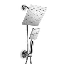 "9"" Rain Shower Combo with Flow Control Button, Chrome"