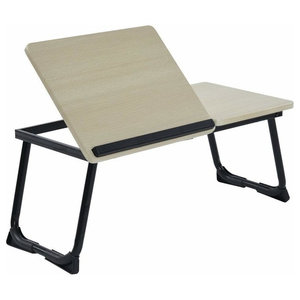Folding Bed Desk Table, MDF With Steel Legs, Wood and Black