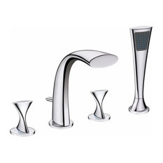 Ultra Faucets Chrome 2 Handle Twist Roman Tub Faucet With Hand Shower