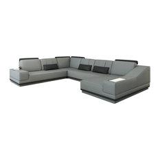 divani casa elma modern sectional sofa gray and black leather sectional sofas