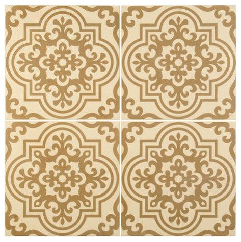 Beige Painted Terra Cotta Floor Tile Mosaic - Mosaic Tile