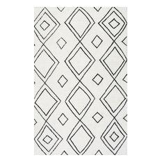 "Hand-Tufted Moroccan Diamond Wool Rug, Natural, 8'6""x11'6"""