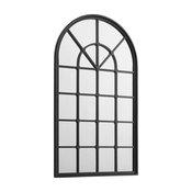 50 Arched Windowpane Mirror - Black