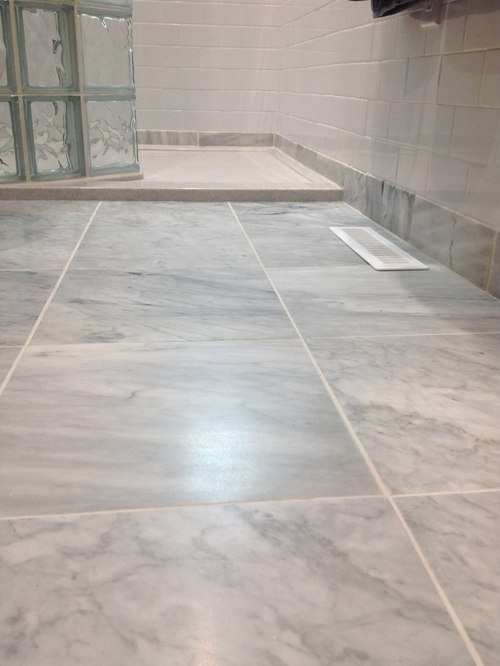 Carrara Marble Guest Bathroom Floor With Stone Solid Surface Low Threshold  Showe   Bath Products