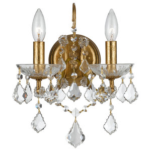 Crystorama Filmore 2-Light Clear Crystal Gold Sconce