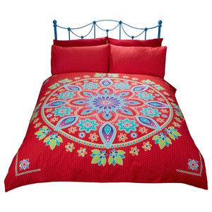 Bohemian Mandala Duvet Cover Set, Red, Double