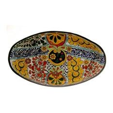"Oval Serving Platter, 17.50""x10', Decoration A"
